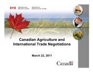 Canadian Agriculture and International Trade Negotiations