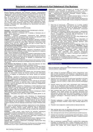 Regulamin wydawania i użytkowania Kart Debetowych - Citibank ...