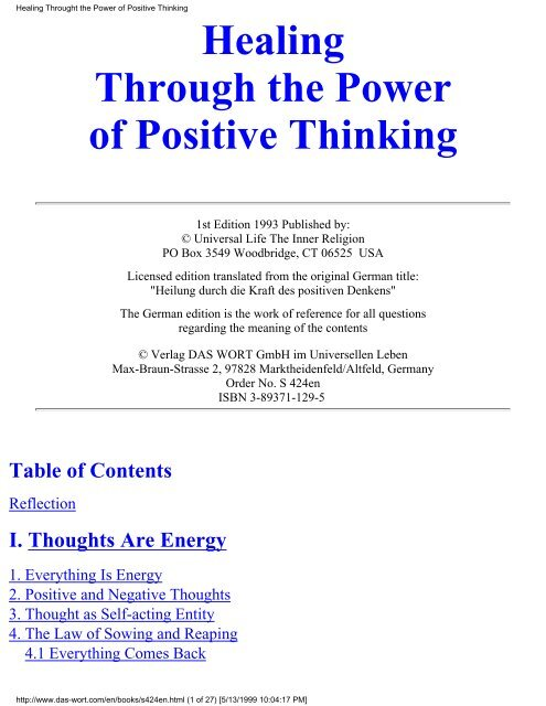 Healing Throught The Power Of Positive Thinking