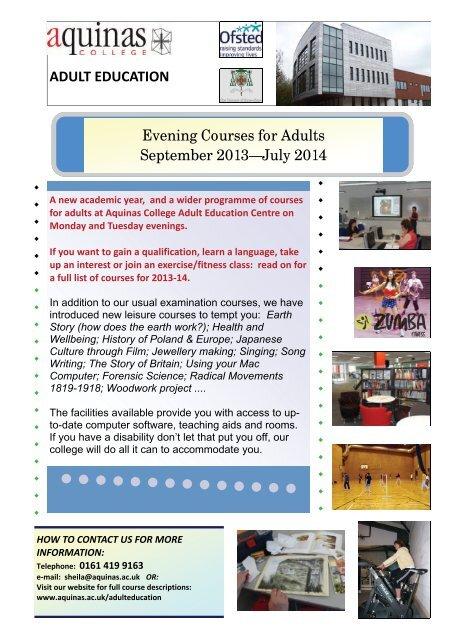 Adult Education Brochure - Aquinas College