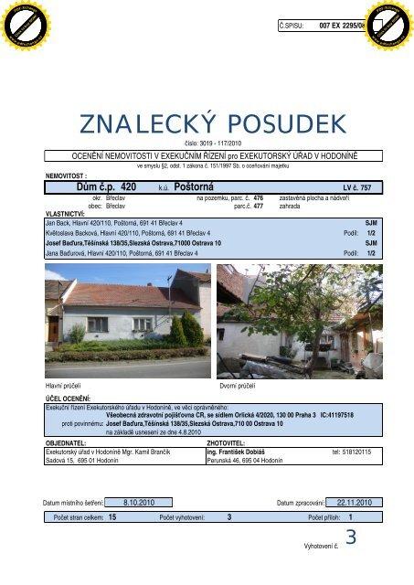 ZNALECKÝ POSUDEK - Exekutorský úřad Hodonín