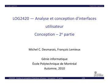 Conception 2 - Cours - École Polytechnique de Montréal