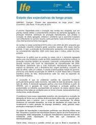 Estado das expectativas de longo prazo - UFRJ