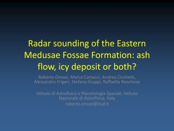 Radar sounding of the Eastern Medusae Fossae Formation ... - Inaf