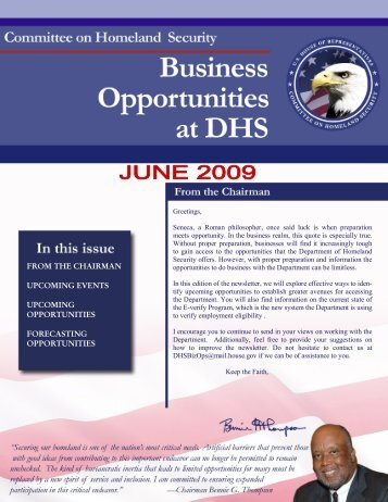 DHS Business Opportunities - June Newsletter - Committee on ...