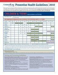 Preventive Health Guidelines 2010 - ConnectiCare