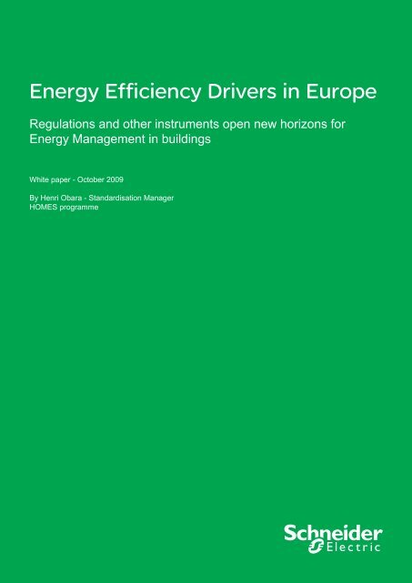 Energy Efficiency Drivers in Europe - Schneider Electric