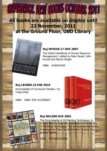 Reference New Books October 2011 - UBD Library