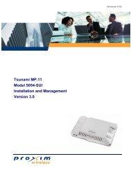 Tsunami MP.11 Model 5054-SUI Installation and Management ... - EFK