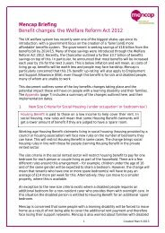 Mencap Briefing Benefit changes: the Welfare Reform Act 2012