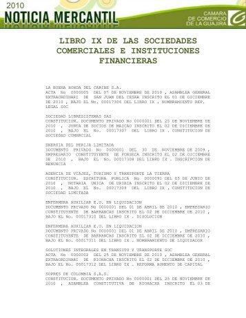libro ix de las sociedades comerciales e instituciones financieras
