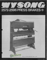 Wysong 2572-2596 Press Brakes Brochure - Sterling Machinery
