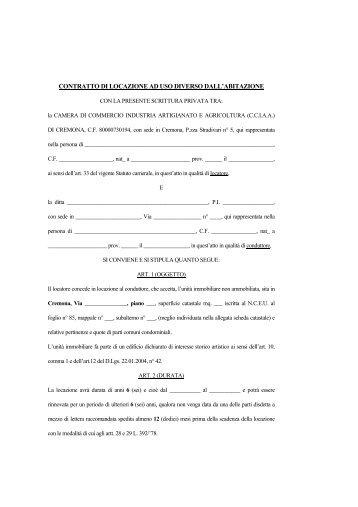 Contratto di locazione ad uso diverso dall'abitazione - Camera di ...