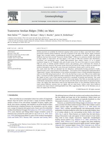 Transverse Aeolian Ridges (TARs) on Mars Geomorphology