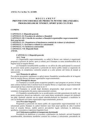 regulament privind concursurile de proiecte pentru ... - Primaria Borsec