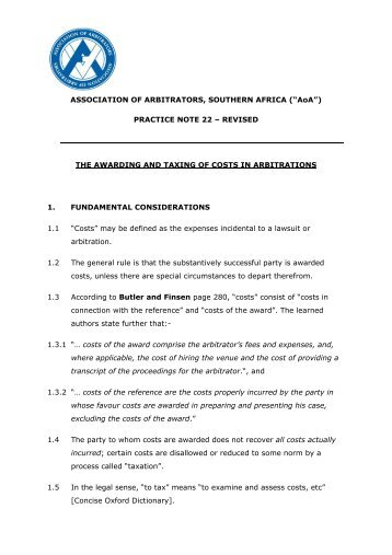 565 if the the awarding and taxing of costs in arbitration association of fandeluxe Images