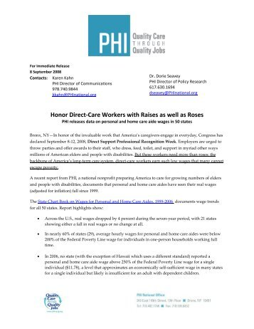 Honor Direct-Care Workers with Raises as well as Roses - PHI