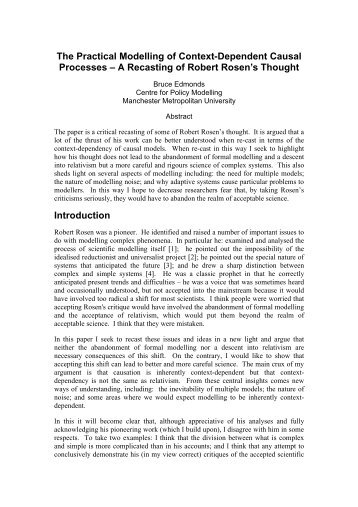 The Practical Modelling of Context-Dependent Causal Processes ...
