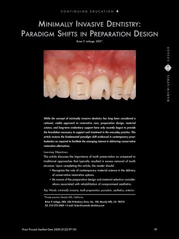 minimally invasive dentistry: paradigm shifts in preparation design