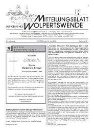 Herrn Heinrich Feeser - Gemeinde Wolpertswende