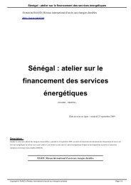 Sénégal : atelier sur le financement des services énergétiques