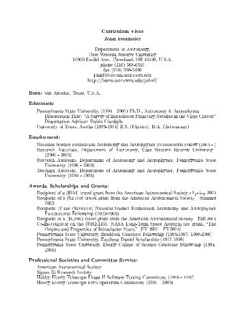 curriculum vitae john feldmeier department of astronomy case