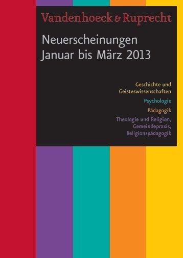 Neuerscheinungen Januar bis März 2013 - Vandenhoeck & Ruprecht