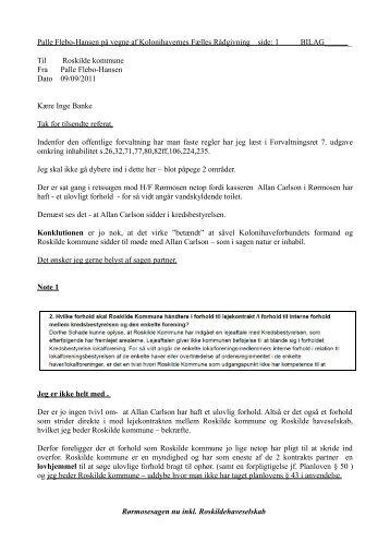Palle Flebo-Hansen på vegne af Kolonihavernes Fælles Rådgivning ...