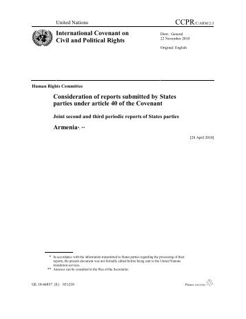 joint second and third periodic reports of armenia 2010 - The ...