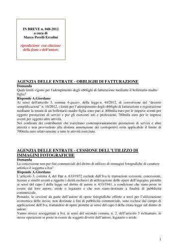 scarica le brevia num° 48 del 2012 - PERELLIERCOLINI.it