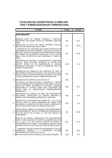 Catalogo de Conceptos Base- Torreón1 - Infonavit