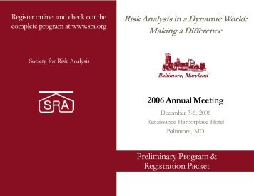 Preliminary Program and Registration Packet - Society for Risk ...