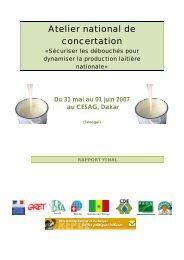 Atelier national de Concertation sur les filières laitières au ... - REPOL