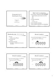 Programtervezés I. Pascal nyelv (5.ea) El z órák összefoglalása ...
