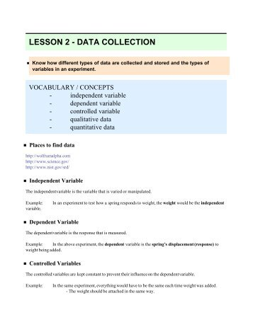 LESSON 2 - DATA COLLECTION
