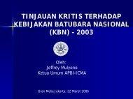 tinjauan kritis terhadap kebijakan batubara nasional (kbn) - 2003