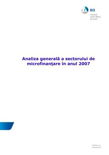 Analiza generala a sectorului de microfinantare in anul 2007 - Bis.md