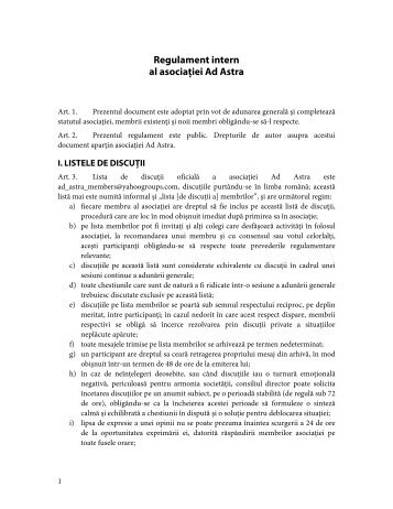 Regulament intern - Ad Astra