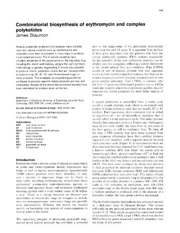 Combinatorial biosynthesis of erythromycin and complex polyketides