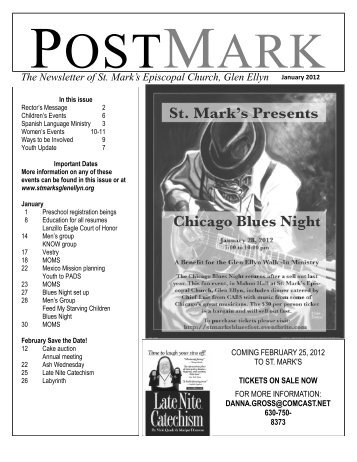 January 2012 issue of the PostMark - St. Mark's Episcopal Church