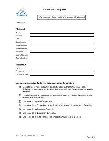 Formulaire - Association des inspecteurs en bâtiments