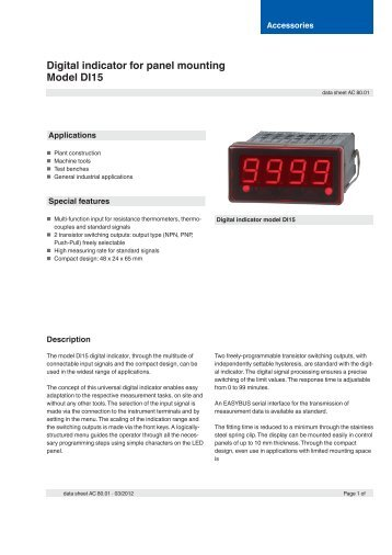 Digital indicator for panel mounting Model DI15 - Adinco bv