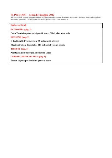 IL PICCOLO – venerdì 4 maggio 2012 Indice articoli - Cgil Fvg