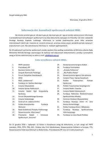 Raport z Konsultacji społecznych założeń (1) i celów (2)
