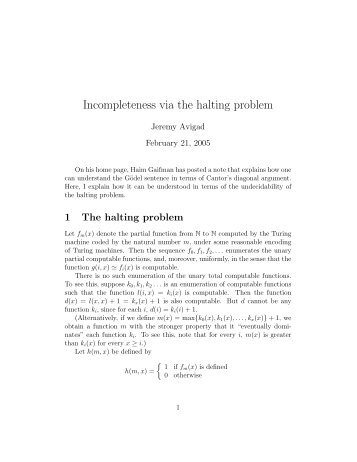 Incompleteness via the halting problem