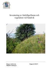 Inventering av häckfågelfauna och vegetation vid Sundvik