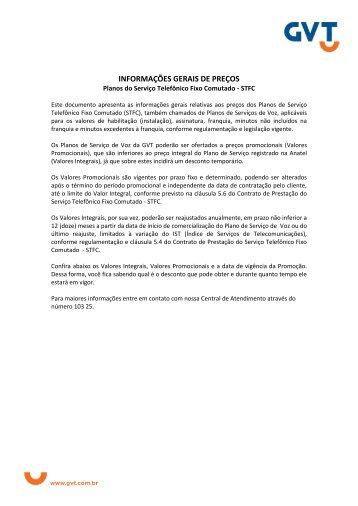 POLÍTICA DE PREÇOS GVT