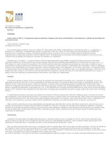 3/11/2005 11:24:38 Os riscos de politizar o Judiciário Política ... - AMB