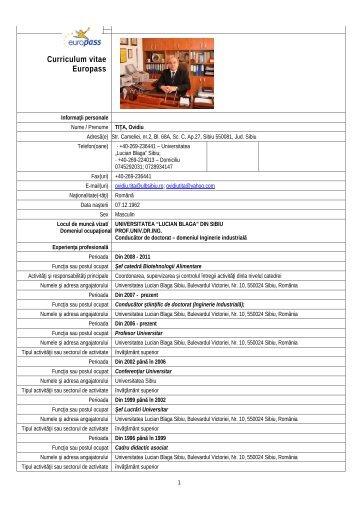 CV - facultatea de stiinte agricole , industrie alimentara si protectia ...