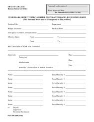 temporary, short-term personnel requisition form - Shasta College